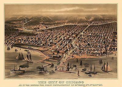 3 Repro Chicago City Rock Island Panoramic Old Antique Colour Color Maps Posters