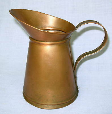 "vtg Copper 6"" Pitcher Ewer OOAK Handmade handcrafted big mouth rustic holds h2o"