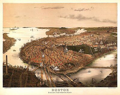 4 Reproduction Plans of Boston Massachusetts Old Antique Colour Posters Maps NEW
