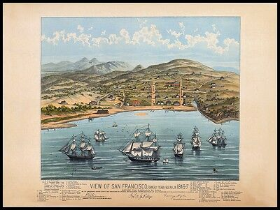 4 x San Francisco Reproduction Old Antique Colour Color Panoramic Maps Pictures