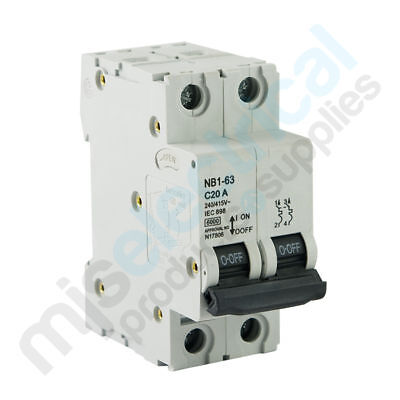 2 Pole Circuit Breakers 6kA 20A 25A 63A NEW! MCB