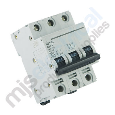 3 Pole Circuit Breakers 6kA 10A 16A 20A 25A NEW! MCB