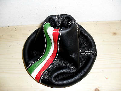 Fiat 500 New Gaiter Gear Black Leather And Italy Flag