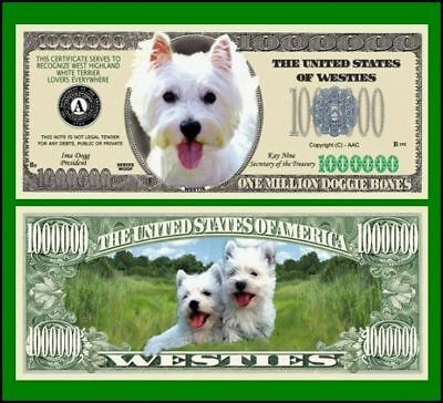 5 Factory Fresh Westie Dog Million Dollar Bills - New