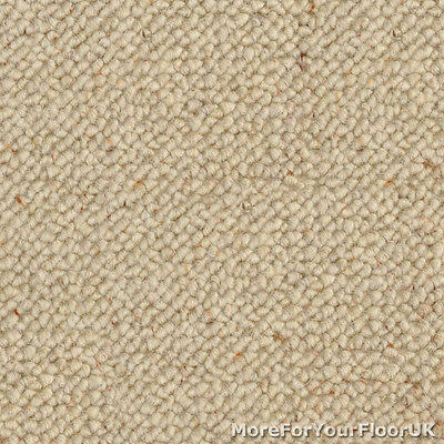 5 Metre Wide Carpet - Cream / Beige - 100% Wool Berber