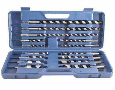15 Pc High Quality Steel Hex Wood Auger Drill Bits Set In Case C8058