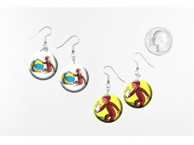 CURIOUS GEORGE 2 pairs of button charm EARRINGS Monkey