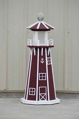 """39"""" Octagon Electric and Solar Powered Poly Wood Lighthouse (Cherry/white trim)"""