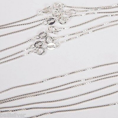 """12 pieces Real Sterling Silver 925 Italian 16"""" BOX 015 CHAIN NECKLACES Lot"""