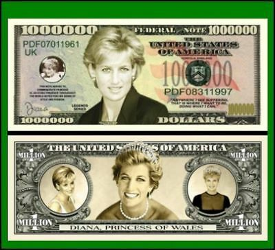 25 Factory Fresh Novelty Princess Diana Million Dollar Bills