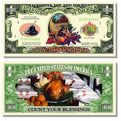 50 Factory Fresh Happy Thanksgiving Million Dollar Bill