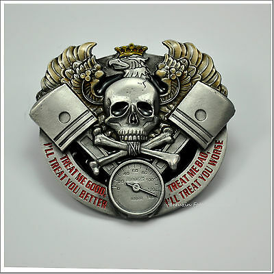 * Gürtelschnalle Rockabilly Hot Rod Biker Kustom Speed Shop Belt Buckle *573