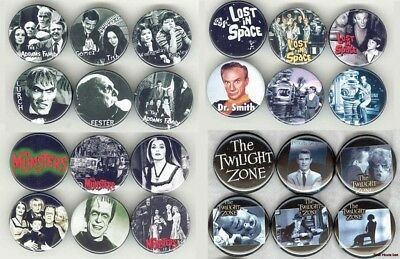 TV Pop Culture set Munster, Addams....  Buttons/Magnets