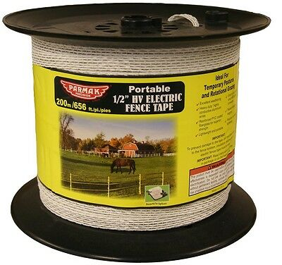 Parker 680 1/2 in. 656 ft. Heavy Duty Electric Fence Tape, White