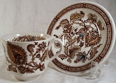 """Ridgway """"Jacobean-Brown"""" Cup and Saucer"""
