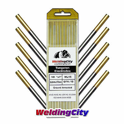 "10-pk TIG Welding Tungsten Electrode 1.5% Lanthanated (Gold) 1/8""x7"" 
