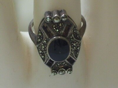 """Vtg Sterling Marcasite""""Onyx"""" Ring Approx. Size 5 1/2"""