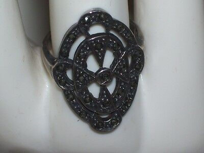Vtg Sterling Marcasite Ring Approx. Size 5