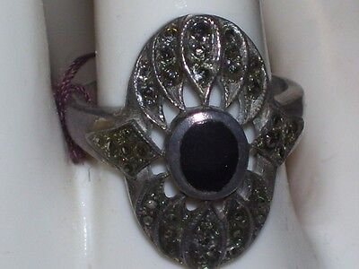 """Vtg Sterling Marcasite""""Onyx"""" Ring Approx. Size 6"""