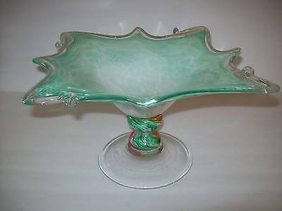 Handblown Glass Pedestal Bowl Green White Pink Gold Unique One of a Kind