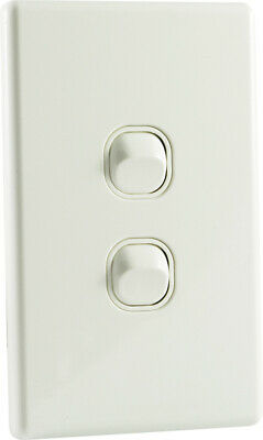 Slim Line 2 Gang Double Light Switch White Slimline NEW Electrical Supplies