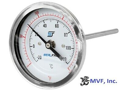 "Thermometer 3"" Face 6"" Stem 0-250*f 1/2 Npt Back  944P4"