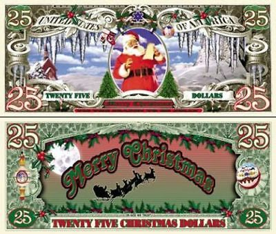 100 Factory Fresh Novelty $25 Christmas Dollars Bill