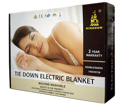 2018 New Model Tie Down Double / Queen Electric Blanket  With 2 Year Warranty