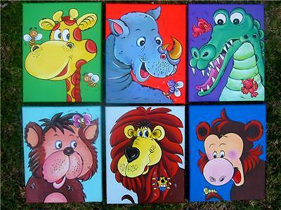 Set of 6 Prints on Canvas Jungle Arts-Childrens Room