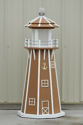 4' Octagon Electric and Solar Powered Polywood Lighthouse (Carmel/white trim)