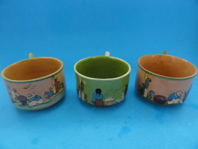 LOT of 3 pcs RARE 1920'S/ 30'S MEXICAN POTTERY CUPS