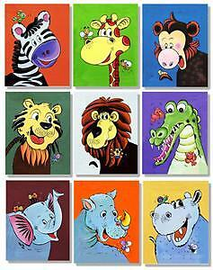 Set of 9 Prints on Canvas Jungle Animals Wall Art 207cmx31cm