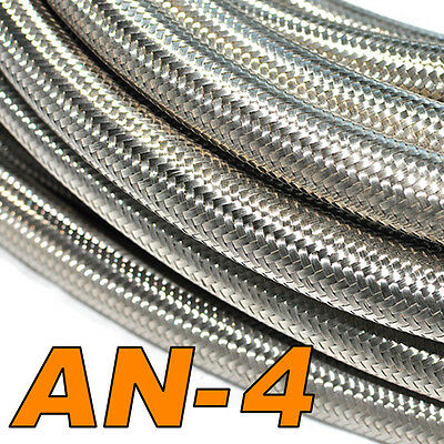 Stainless Steel Braided Hose (AN-4) Fuel/Oil/Water