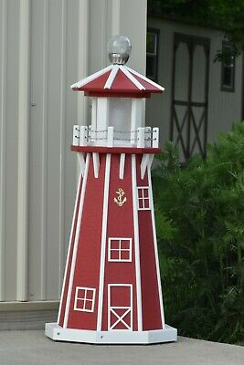 """39"""" Octagon Electric and Solar Powered Poly Lumber Lighthouse (Red / white trim)"""