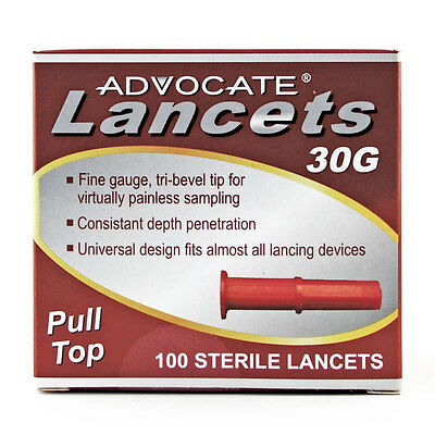 Advocate Lancets 30 Gauge 100 Blood Diabetes Glucose Diabetic Testing Test