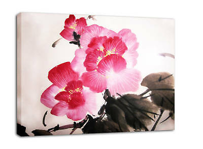 FLORAL PAINTING CANVAS CHINESE PICTURE PINK  framed A2