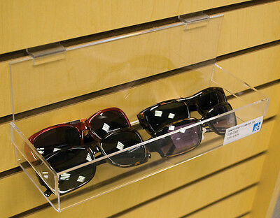 """Acrylic Display 12"""" Wide x 4"""" Deep x 1/8""""Thick Shelves for Slatwall Lot of 8 NEW"""