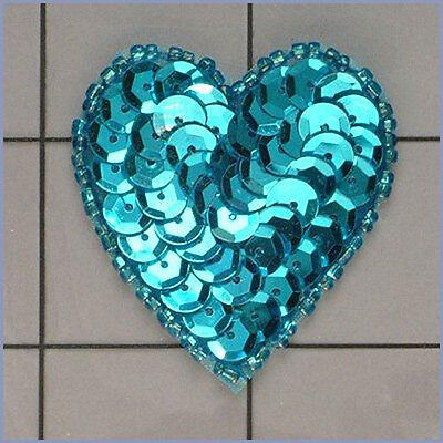 SEQUIN SEED BEADED 2 INCH HEART APPLIQUE 2229-G