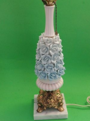 Vintage Japanese Porcelain Roses Table Lamp and Shade