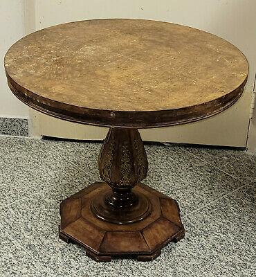 Antique Empire Revival Style Burl and Gild Metal Parlor Table