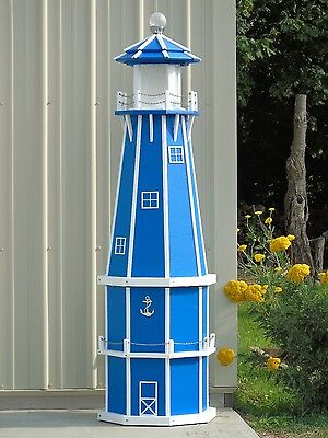 6' Octagon Electric and Solar Powered Poly Lumber Lighthouse (Blue/white trim)