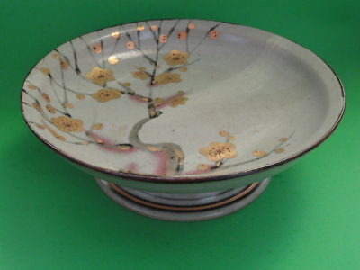 Large Japanese Stoneware Gilt Hand Decorated Bowl With Box