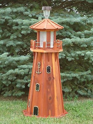 "39"" Octagon Electric and Solar Powered Cedar Lighthouse"