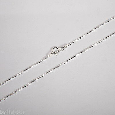 """30"""" 76cm Real Italian 925 Sterling Silver Diamond Cut 1.2mm BALL Chain Necklace"""