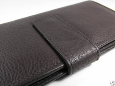 Brown Genuine leather checkbook walllet snap closure
