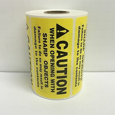 500 Labels of 4x2 Yellow CAUTION WHEN OPENING WITH SHARP OBJECTS Rolls