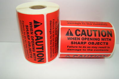 500 Labels of 4x2 Red CAUTION WHEN OPENING WITH SHARP OBJECTS Rolls