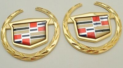 """Set Of Two Cadillac Wreath /& Crest Sim Top Emblems 3.5/"""" 24K Gold Plated"""