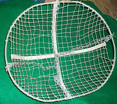 Industrial Wire Oval Hanging Basket With Chain Vintage