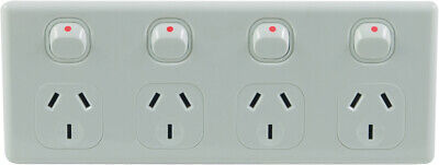 Quad Power Point 4 Gang Socket NEW Electrical Supplies